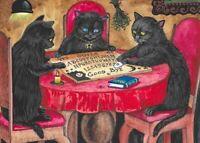 5X7 PRINT OF PAINTING RYTA HALLOWEEN VINTAGE STYLE BLACK CAT OUIJA BOARD ART BAT