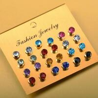 12 Pairs Women Surgical Stainless Steel Birthstone Ear Piercing Stud Earrings