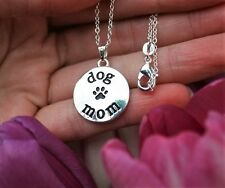 Dog Mom Necklace Charm Pendant Paw Print Puppy Lover Gift Silver Chain .925