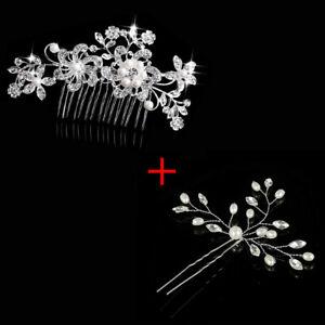 3x Crystal Bridal Hair Accessroies Wedding Pearls Hair Pins Comb Clips Headpiece
