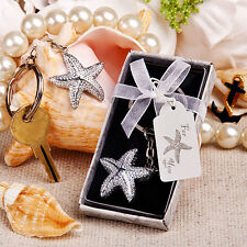 24 Silver Starfish Design Keychain Beach Theme Bridal Shower Wedding Favors