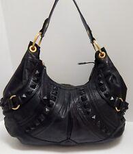 Isabella Fiore Black Leather Studded XL Hobo Shoulder Bag