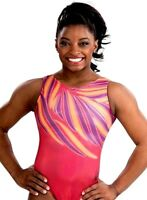 Simone Biles GK Elite LEOTARD Gymnastics Bodysuit SUNRISE SPLASH Coral Purple AS