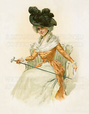 French fashion girl chair cane Victorian Art Nouveau color print 5x7 or request