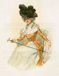 French fashion girl chair cane Victorian Art Nouveau color print 5x7 or digital