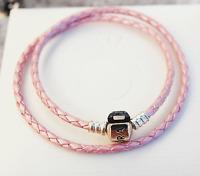 Genuine Pandora Pink Double Leather Bracelet w. Sterling Silver Clasp  38cm