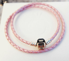 Genuine Pandora Pink Double Leather Bracelet w. Sterling Silver Clasp  38cm