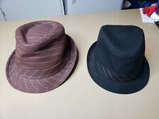 LOT OF [2] Goorin Bros Men's Striped Tribly Fedora Hat Cap Sz Large