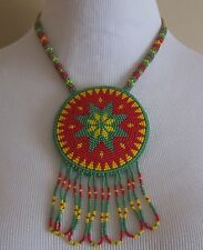 Native American Beaded Star Medallion Necklace Hand Crafted