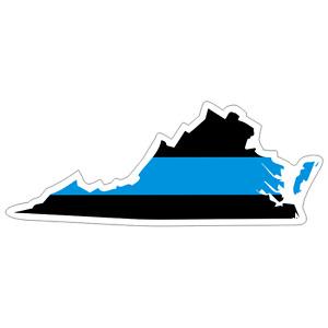 Virginia VA State Thin Blue Line Police Sticker / Decal #221 Made in U.S.A.