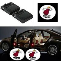 2Pcs For Miami Heat WIRELESS LED Car Door Step Courtesy Shadow Laser Lights