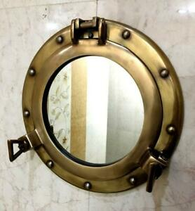 """15"""" Ship Marine Mirror Porthole Antique Finish Wall Hanging Nautical Home Decor"""