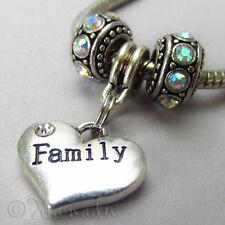 Family Heart Pendant And Birthstone Beads For European Charm Bracelets