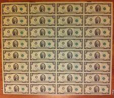 1976 -- 32 UNCUT SHEET $2 DOLLAR - UNCIRCULATED - USA 2 DOLLAR UNCUT CRISP NOTES