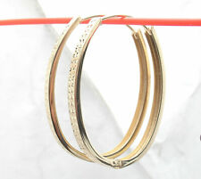 Technibond Diamond Cut Hugger Huggie Hoop Earrings 14K Yellow Gold Clad Silver