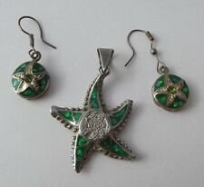Silver Tone and Green Enamel Starfish Matching Pendant and Earrings Mexico
