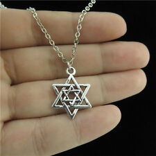 "18"" Chain Alloy Collar Short Necklace Silver Two Star of David Jewish Pendant"