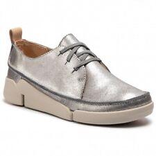 Clarks Tri Clara Flatform Trainers Silver Metallic Women's Shoes UK Size 4.5 E