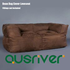 2 Person Sofa Couch Bean Bag Cover Indoor Loveseat Lazy Seat Chair Brown B2PBRN