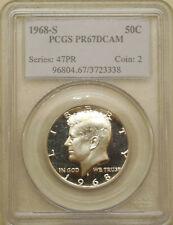 1968-S PCGS PR-67-DCAM Kennedy half dollar superb gem proof deep cameo