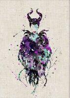 "Maleficent Type 3 Watercolor Nursery Print Disney Art UNFRAMED About 8""x10"""