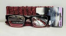 Women's +3.25 Foster Grant Roxanna  Reading Glasses Burgundy Black MSRP $29.99