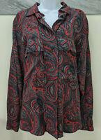 Ellen Tracy Button Down Blouse 100% Silk Red Paisley Vintage 1990's Top Size 12