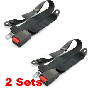 2 Sets Adjustable Universal Travel Two 2 Point Car Tether Safety Seat Lap Belt