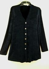 CHICO'S Private Edition Travelers Blue Slinky Cardigan Jacket Shirt sz 2 L 12