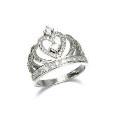Charm Fashion Crown White Sapphire Birthstone Silver Wedding Bridal Ring Sz 6-10