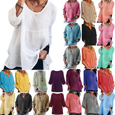 Plus Size Womens Loose Casual Tunic Tops Blouse T-Shirt Summer Beach Tee Shirts