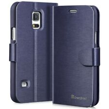 GreatShield Leather Wallet Card Stand Cover Flip Case for Galaxy S5 Mini Blue