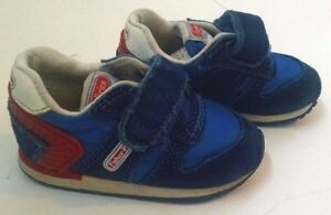 Vtg 80s Baby Boy Shoes Fisher Price 4 Blue Red Sneakers Suede Accents