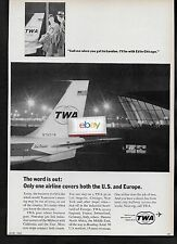 TWA TRANS WORLD 1965 707 AT NEW YORK JFK CALL ME WHEN YOU GET TO LONDON AD