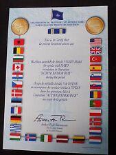 ORIGINAL NATO  ACTIVE ENDEAVOUR MEDAL CERTIFICATE - PRE 2011 - RARE