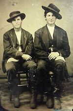 ANTIQUE THE COLLINS BOYS DESPERADOS?  COWBOYS? YOUNG MEN ARTISTIC TINTYPE PHOTO