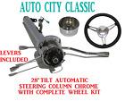 28 Streethot Rod Chrome Stainless Tilt Steering Column Automatic 3 Spoke Wheel