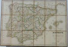Antique maps, carte routiere des royaumes d'espagne et de portugal