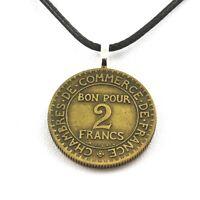 Collier pièce de monnaie France 2 francs Chambres de commerce