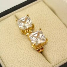 24k Yellow Gold Filled Earrings 7mm CZ Square Stud Charm GF Wedding Jewelry Gift