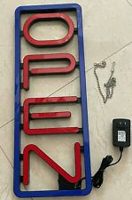 """Led Neon Light Open Sign Vertical Business Signs Lamp 23""""X 8"""" Red and Blue"""