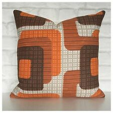 Handmade Cushion Cover  Original Vintage 60s 70s Orange Brown Graphic Fabric