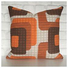Handmade Cushion Cover  Original Vintage 60s 70s Orange Brown Graphic Fabric