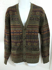 Polo Ralph Lauren Merino Lambs Wool Leather Braided Cardigan Sweater Jacket L