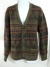 Polo Ralph Lauren Merino Lambs Wool Leather Braided Cardigan Sweater Jacket L