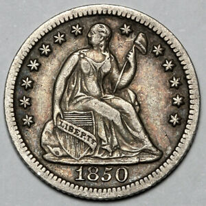 1850 UNITED STATES SILVER SEATED LIBERTY 1/2 HALF DIME COIN