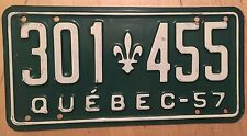 "1957 QUEBEC PASSENGER AUTO LICENSE PLATE "" 301 455 "" QU 57  CANADA"