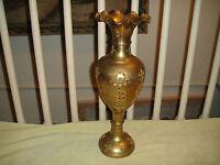 Antique India Brass Metal Vase Gem Stones Floral Patterns Etching Stones