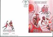 UGANDA FAMOUS PEOPLE OF AFRICAN ORIGIN BASKETBALL PLAYERS  S/S FIRST DAY COVER