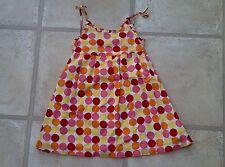 Baby Girls Orange Pink Yellow Red Poka Dot Dress - Age 6 - 12 6-12 Months Summer